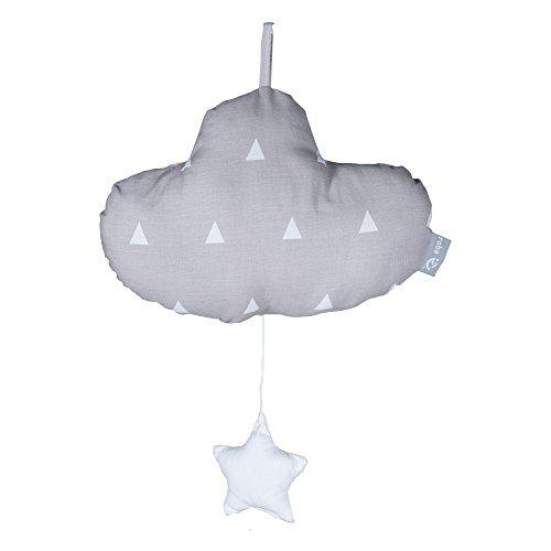 roba Spieluhr 'Indibär', Baby Einschlafhilfe, Textil-Wolke waschbar, Babyzimmer Deko taupe / weiß