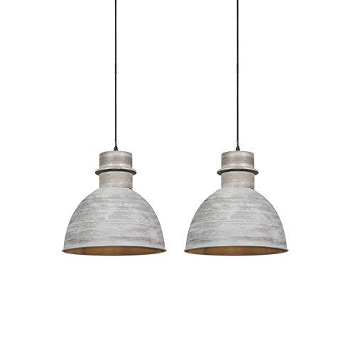 QAZQA Landhaus/Vintage/Rustikal 2-flammiger Set Country Hängelampen grau - Dory/Innenbeleuchtung/Wohnzimmerlampe/Schlafzimmer/Küche Stahl Rund LED geeignet E27 Max. 2 x 40 Watt