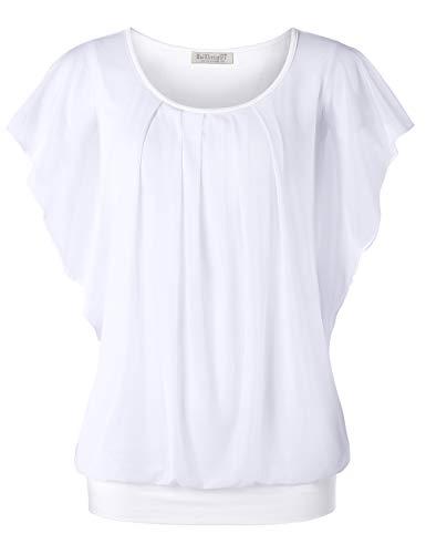 BAISHENGGT Damen Falten Kurzarm Tunika Batwing Rundkragen Bluse Reine Weiß Large