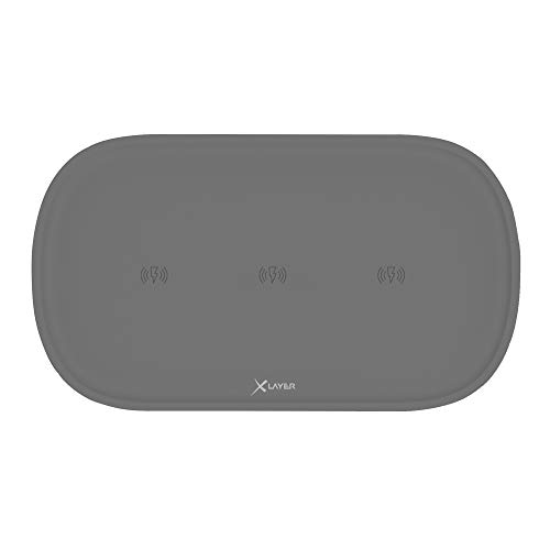 Xlayer Wireless Charging Pad Family Triple, Induktions – Ladestation für induktionsfähige Smartphones und Tablets, Qi Ladestation Ladegerät, Anthrazit