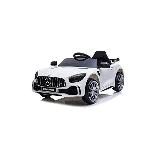 ATAA Coche eléctrico para niños Mercedes GTR 12v con Licencia - Coche de batería con Mando Control Remoto para Padres - Blanco
