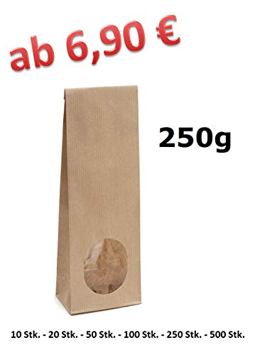 Blockbodenbeutel Mit Sichtfenster Papiert/üte Bodenbeutel Geschenkt/üte Papierbeutel T/ütchen Kraftpapiert/üten circulor 50PCS Kraftpapiert/üte