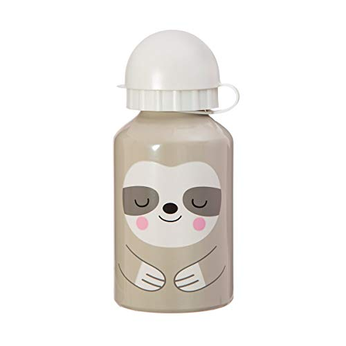Sass & Belle Perezoso Botella de agua para niños, aluminio, gris, 6,5 x 6,5 x 15 cm