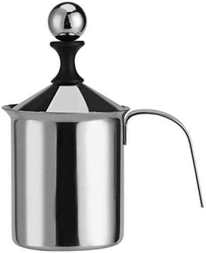 Yayy Handmatige melkopschuimer van roestvrij staal, om op te schuimen, kruk, koffie, schuimstof, tassenfabrikant, dubbelmadig, crèmekleurig (800 ml)