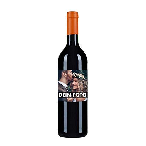Eventwein Rotwein Merlot individuell mit Bild gestalten - Personalisiertes Geschenk zur Hochzeit oder zu Weihnachten - optional mit Geschenkverpackung - Herkunft: Frankreich, trocken, 0,75L