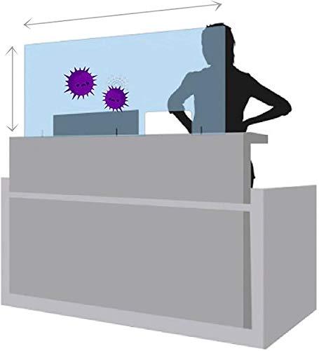 Publimer Mampara de Protección 70x50 cm en Metacrilato transparente, ligero y fácil de instalar. Pantalla protector para tienda, hospital, comercio, supermercado, restaurante, estanco