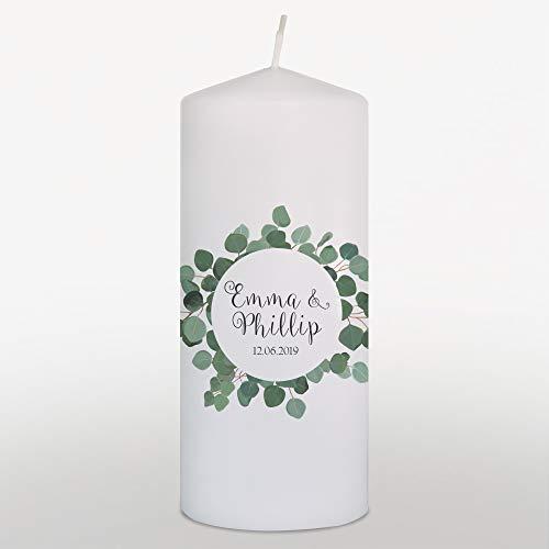 Hochzeitskerze mit Namen und Datum Grün, Traukerze Hochzeit Boho Blätterkranz, Weiß