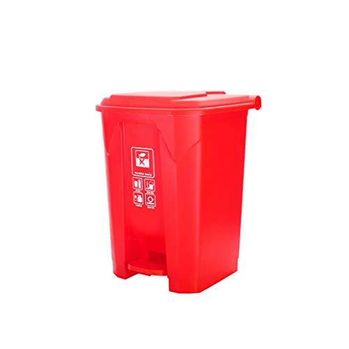 LOMJK Papeleras Bote de Basura al Aire Libre Papelera de Basura Restaurante Parque de la Escuela Plaza Papelera Grande Cocina Verde Reciclaje de Basura Cubos de Basura (Color : Red, tamaño : 50L)