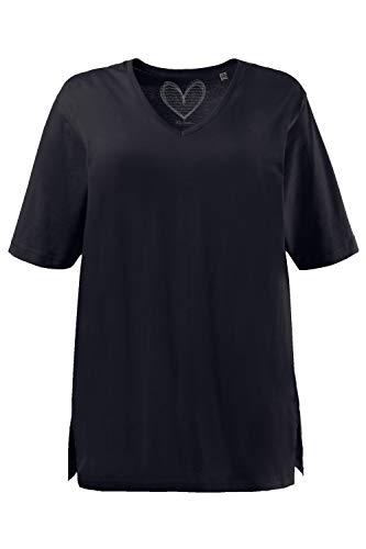 Ulla Popken Damen V-Ausschnitt T-Shirt, Blau (Blau 71), 58/60
