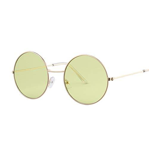SHANGYUN Gafas de Sol Redondas Vintage para Mujer, Gafas de Sol con Espejo de Color oceánico, Gafas Circulares con Montura metálica para Mujer, UV400, Verde Dorado