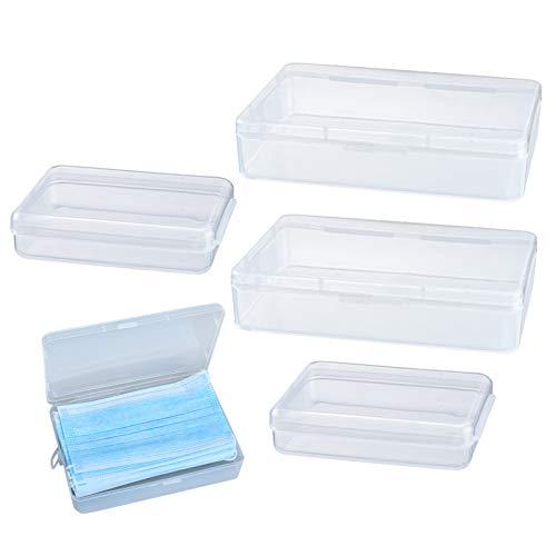 Zeaye Caja de almacenamiento de 4 piezas, caja de plástico reutilizable, caja transparente, caja de plástico portátil, caja de almacenamiento impermeable anticontaminación.