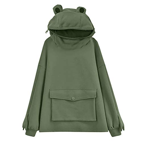 YiMiny Women's Sweatshirt Novelty Creativity Design Frog Hooded Oversized Cute Head Zip up Hooded Top Sweatshirt Loose Pullover Sweater Winter Party (Green,S)