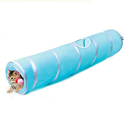 Tancurry Katzen Versteckt Spielzeug Katzentunnel mit Kugel Faltbare Katzen Spielzeugtraining (Blau)