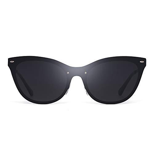 GLINDAR Sin Marco Ojos de Gato Gafas de Sol Sin Montura Borde Una Pieza Espejo Reflexivo Sombras Hombre Mujer(Marco Negro/Lente Gris Gradiente)