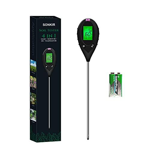 Sonkir pHmetro del Suolo, Kit di Attrezzi da Giardinaggio per Tester di umidità/Luce/PH/Temperatura 4-in-1 per la Cura delle Piante, misuratore di Terreno per Giardino, Batteria Inclusa (Nero)