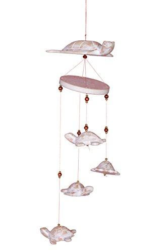 Windspiel Mobile Holz Viele Kleine Schildkröten Schildkröte Weiß Ca. 50cm