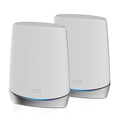 NETGEAR Système WiFi 6 Mesh Tri Bandes Orbi (RBK752), Pack de 2, Routeur WiFi 6 AX4200, WiFi jusqu à 4.2 Gbit s, Couverture WiFi Mesh performante de 350m², idéal murs épais, compatible toutes box