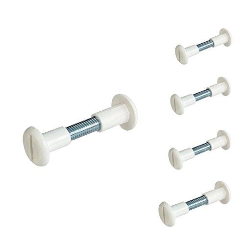 Gedotec Möbelverbinder Schrauben Verbindungsschrauben mit Hülse Stahl - Kunststoff weiß | Hülsenschrauben Holz-Dicke 30-39 mm mit Flachklinge | Schrankverbinder M6 Gewinde | 10 Stück - Möbelschrauben