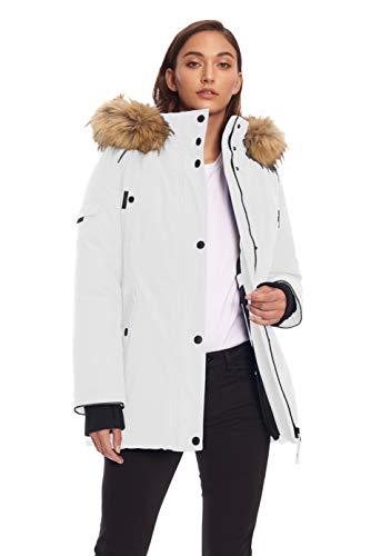 Alpine North Women's Vegan Down Parka Jacket with Faux Fur, White, Medium