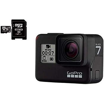 GoPro HERO7 Black ゴープロ ヒーロー7 ブラック ウェアラブル アクション カメラ CHDHX-701 + マイクロ SD カード 64GB セット [並行輸入品]