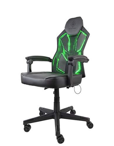 DELTACO Gaming Stuhl mit RGB-Beleuchtung (PU-Leder, Büro, Schreibtisch, RGB Hintergrundbeleuchtung, 39 LED Modis) schwarz