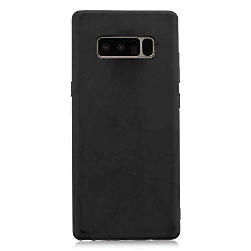 cuzz Funda para Samsung Galaxy Note 8+{Protector de Pantalla de Vidrio Templado} Carcasa Silicona Suave Gel Rasguño y Resistente Teléfono Móvil Cover-Negro