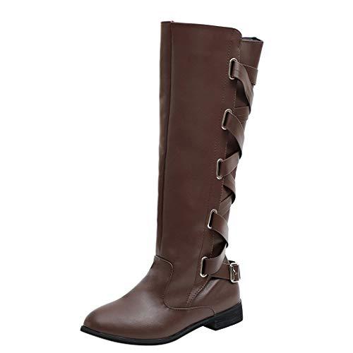 Alwayswin Damen Stiefel Winter Cross Strap Schnee Kniehohe Stiefel Cowboy Warme Schuhe Vintage Leder Overknee-Stiefel Rutschfeste Elegant Lange Stiefel Winterstiefel Schnürstiefel