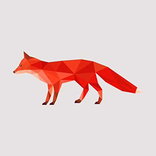 Dark Orange Fox Geometric Artistic Decal - Five Inch Wide Full Color Decal - For Indoor or Outdoor Use - Car, Truck, Laptop, MacBook, and More!