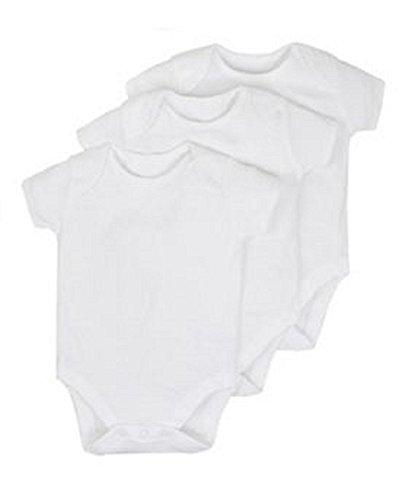 Baby Bodysuit/Babygrow/Vest ***New*** 100% Cotton White 0-3-6-9-12 (Pack of...