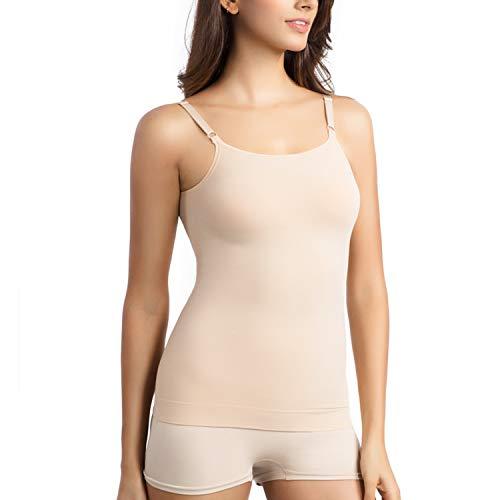 +MD Damen Slim T-Shirt Trägershirt Unterhemd Nahtloses Shapewear Unterwäsche Top mit verstellbarem Spaghettibügel NudeL