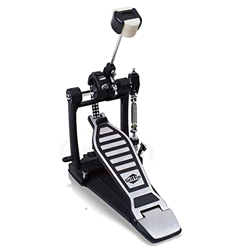 Single Kick Bass Drum Pedal by GRIFFIN   Deluxe Double Chain Foot Percussion Hardware for Intense Play   4 Sided Beater & Fully Adjustable Power Cam System   Perfect for Beginner & Pro Drummers