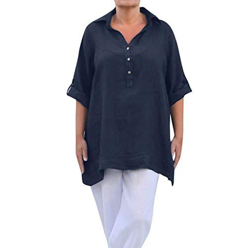 VEMOW Camisa Casual con Cuello Redondo Blusa Suelta Camisa de botón de Lino Manga Larga para Mujer(Armada,XL)