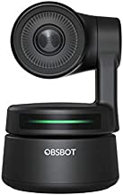 OBSBOT Tiny AI-Powered PTZ Webcam, Full HD 1080p Video Conferencing, Recording and Streaming - Black