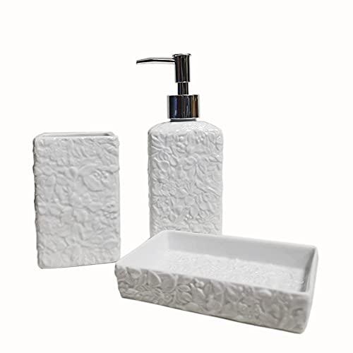 WQG Conveniente y práctico útil flor en relieve accesorios de baño de cerámica taza de lavado bucal dispensador de jabón bomba botella jabón caja moderna herramienta de lavado adecuado paraHome