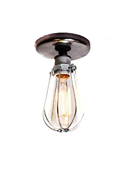 Industrial Bare Bulb Caged Light - Ceiling Flush Mount or Wall Sconce