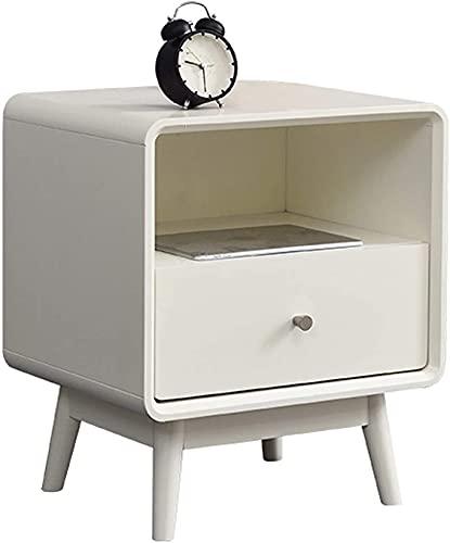 Snyggt nattduksbord, träsängbord och lampbord, lådor med handtag och öppet förvaringsutrymme för hylla, bäddsoffa för hemmet (färg: A)