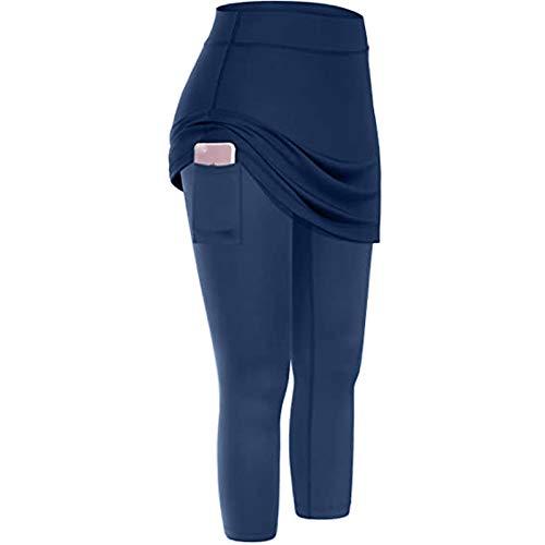 Pantalon De Yoga avec Jupe Taille Haute avec Poches Sport pour Femmes Fitness Élastiques Ventre Plat Push Up Fesse Jogging Legging De Yoga Confortable Et Respirant