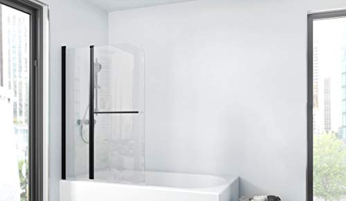Marwell BWF285 Factory - Pared plegable para bañera, color negro mate, 100 x 140 cm