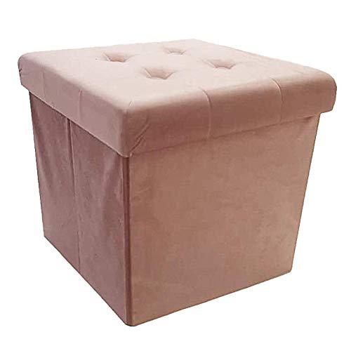 Style home Sitzbank Sitzhocker Aufbewahrungsbox mit Stauraum faltbar, belastbar bis 300 kg, 38 x 38 x 38 cm (Rosa-Samt)