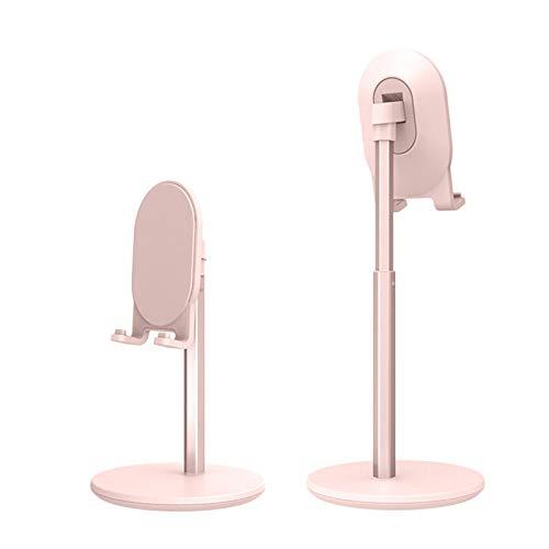 Kesio Soporte para teléfono móvil con altura ajustable, aleación de aluminio, soporte universal para teléfono celular, con puerto de carga, compatible con tabletas y smartphones, color rosa