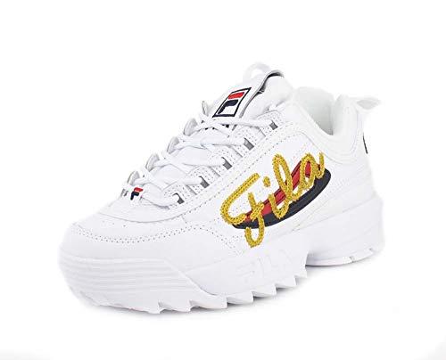 Fila - Modelo Disruptor II Premium Repeat - Zapatillas para mujer, blanco (Blanco), 42 EU