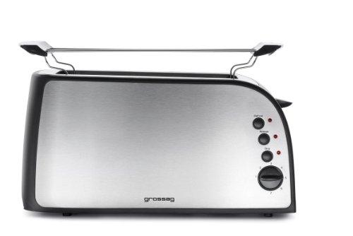 Grossag TA 41.07 - Tostadora con ranuras alargadas para 4 tostadas y accesorio para bollos (acero inoxidable cepillado, 1350 W), color plateado
