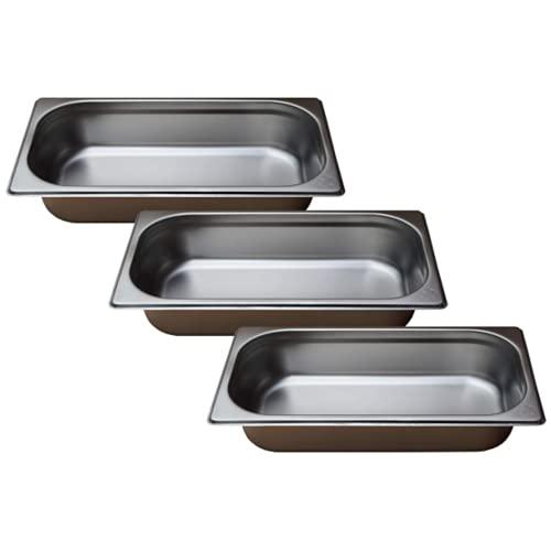Gastro-Bedarf-Gutheil 3 x Gastronormbehälter GN Behälter 1/3 65 mm tief stapelbar Edelstahl geeignet für Chafing Dish, Bain Marie, Saladette