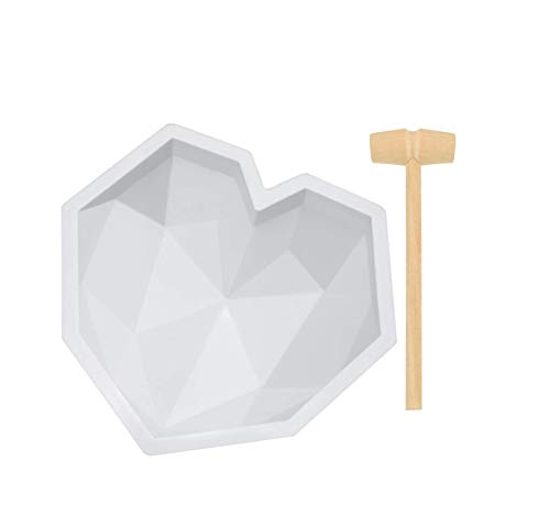 Silicone Diamond Heart Cake Mould Mousse Cake Mold Trays Chocolate Baking Molds with Mini Wooden Hammers and Droppers Non-Sticky Candy Making Supplies for Valentine´s Day Wedding (White, A-Packing)