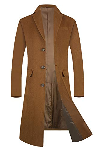 Men's Trench Coat Wool Blend French Long Jacket Business Top Coat Single Breasted 1801 Camel M