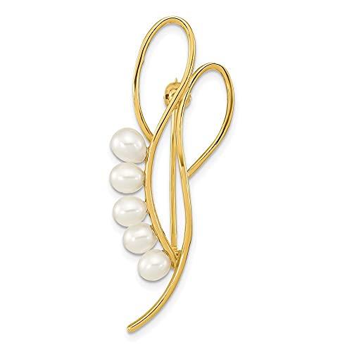Broche de perlas cultivadas en agua dulce de oro de 14 quilates, 4 5 mm, color blanco