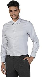 Splash Cotton Houndstooth Pattern Chest-Pocket Long Sleeves Shirt for Men 16.5