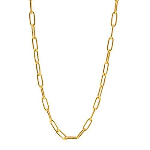 Fnho Chain Necklace for Valentine's Day,Girlfriend Birthday Anniversary,Collar de Clip de Papel Simple, Cadena de clavícula de Acero Inoxidable-Ancho 8 mm_35 cm de Largo
