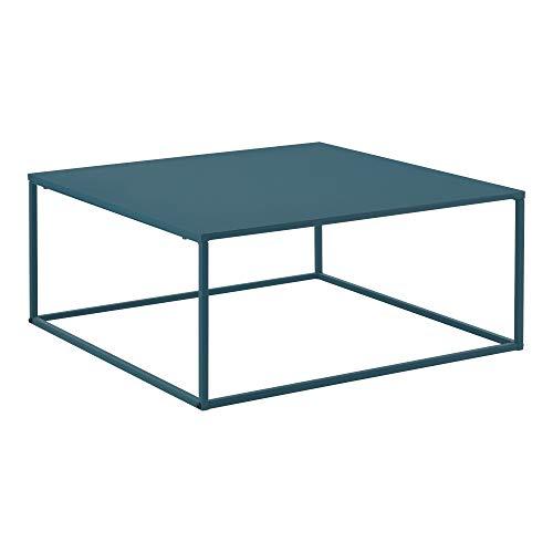 [en.casa] Mesa de Centro Lebus 38 x 85 x 85 cm Mesa Baja Mesa de Salón Auxiliar Mesa de Café o Té Marco de Metal Turquesa Mate
