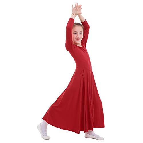 OBEEII Vestito Bambine Liturgico Manica Lunga Asimmetrico Abito da Balletto Ginnastica Body Classico Danza Combinazione Chiesa Preghiera Coro Costume Rosso 7-8 Anni